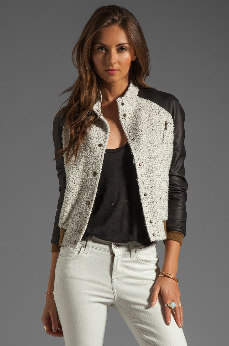 ROSEanna Paris Jacket with Leather Sleeves in Ecru