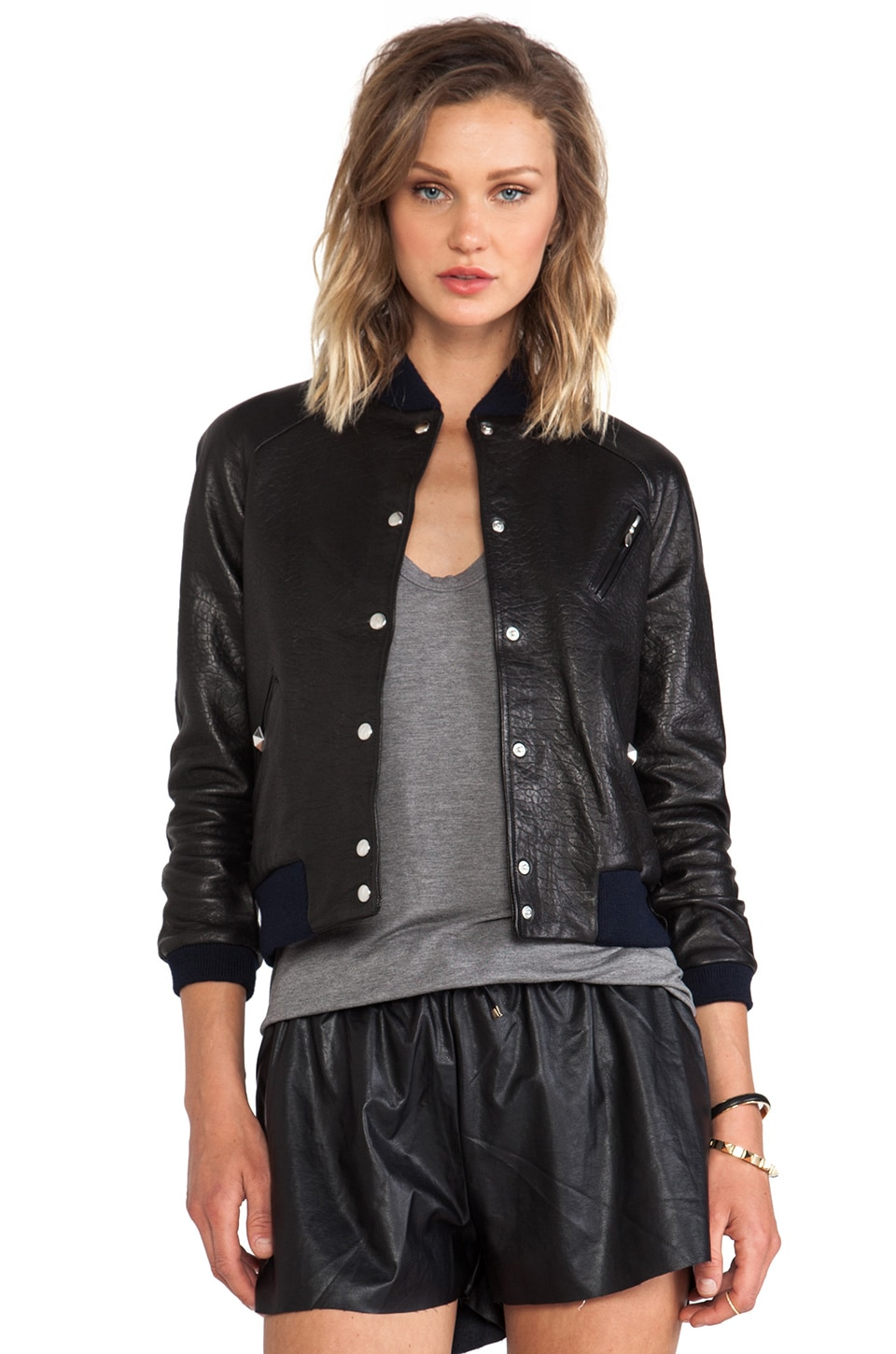 ROSEanna Paris Grease Leather Bomber in Noire