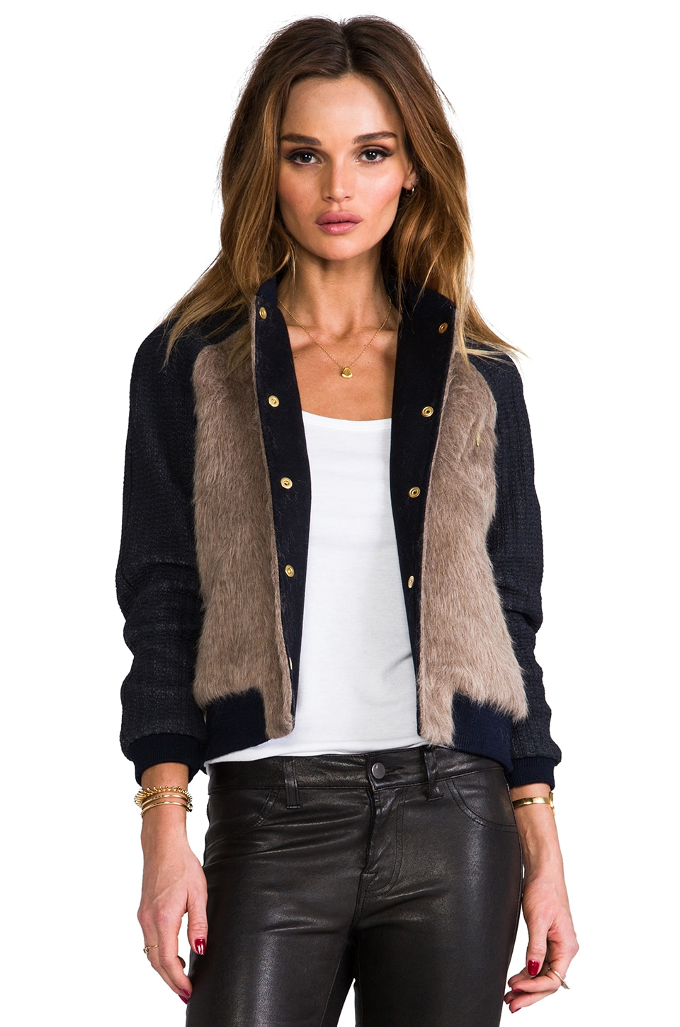 ROSEanna Paris Juno Faux Fur Bomber in Ecorre