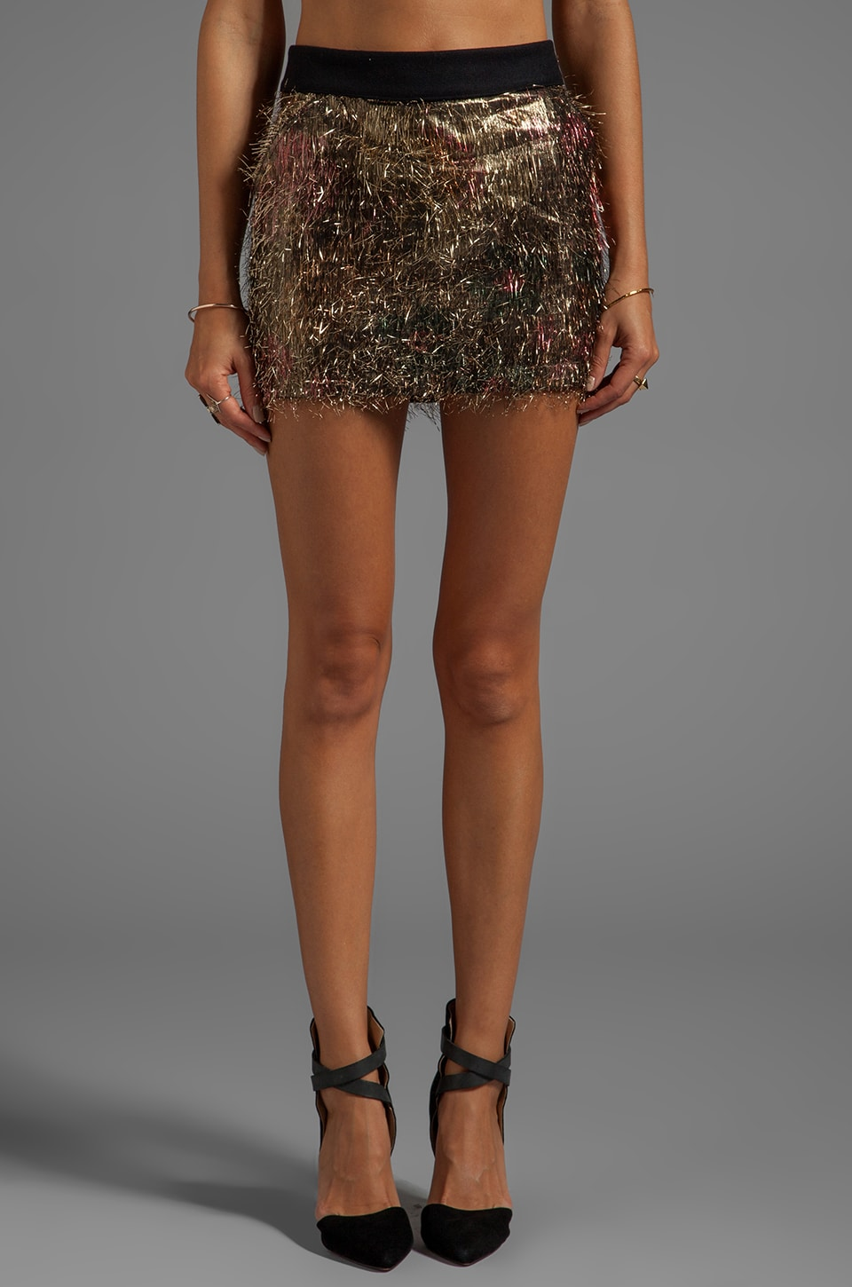 ROSEanna Gorden Tinsel Gold Camo Skirt in Tinsel