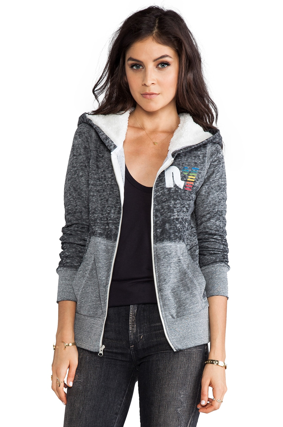 Rebel Yell Sherpa Zip Split Hoodie in Heather Gray
