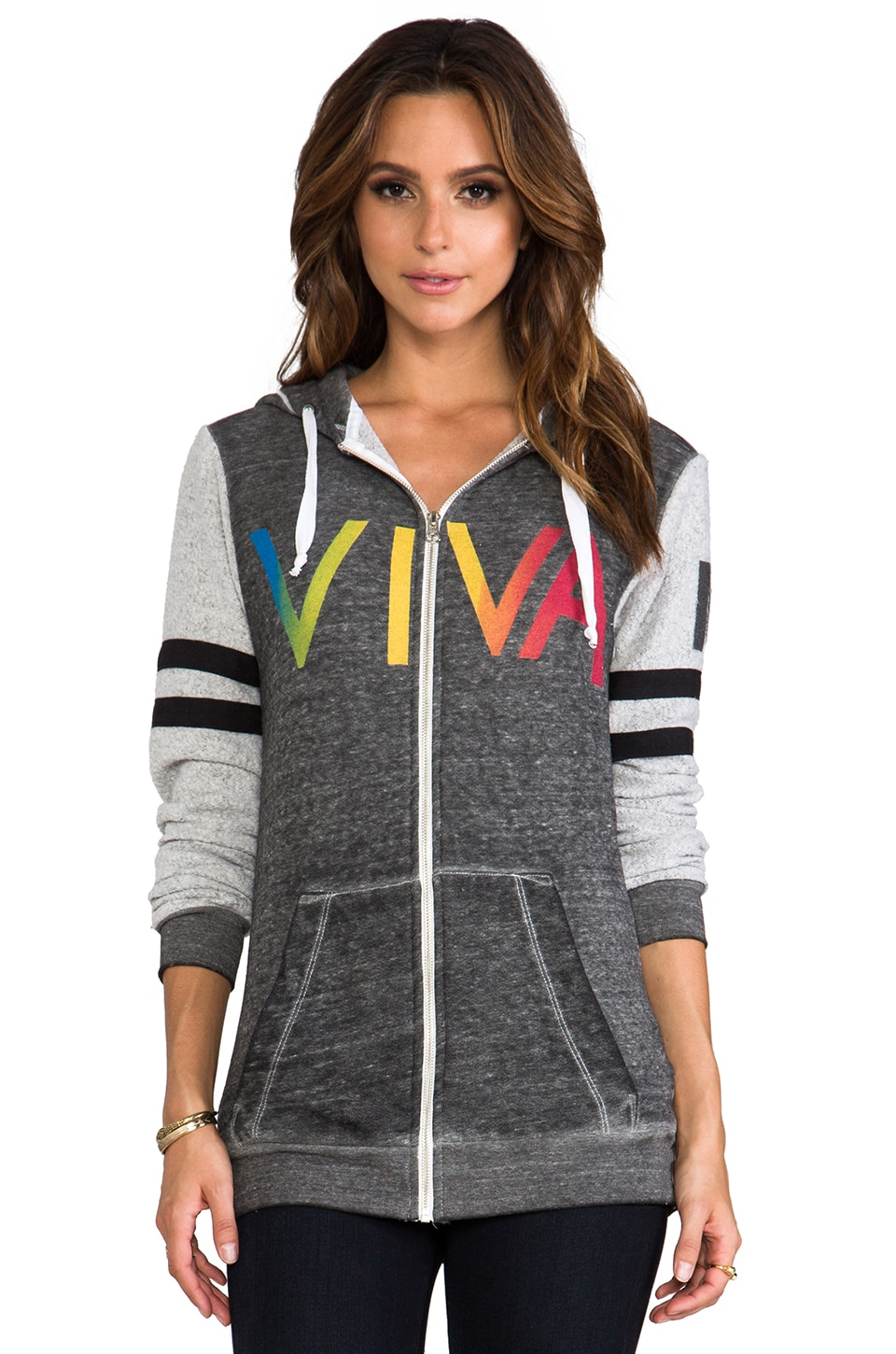 Rebel Yell Viva Zip Hoodie in Heather Gray