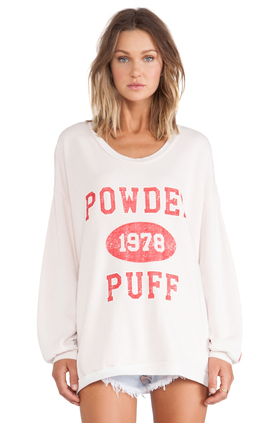 Rebel Yell Powder Puff Strokes Warm Up Sweatshirt in Blush