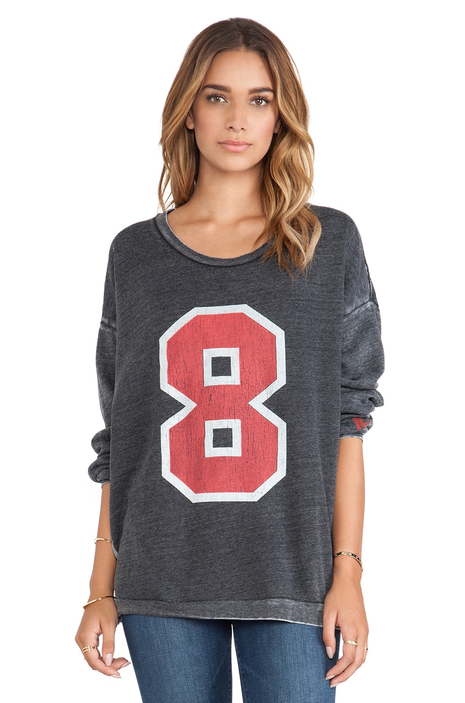 Rebel Yell Number 8 Strokes Warm Up Sweatshirt in Black