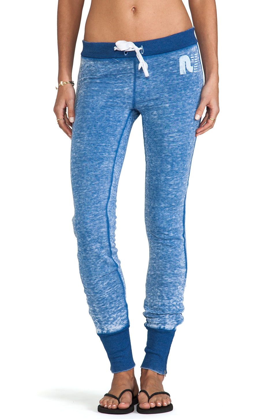 Rebel Yell Skinny Zip Fleece Pants in Vintage Royal