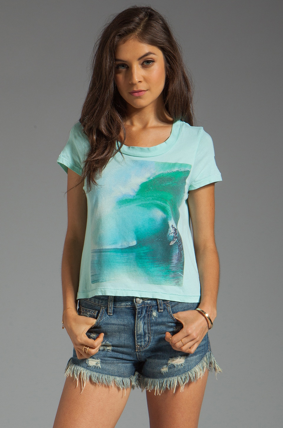 Rebel Yell Surf Crop Tee in Vintage Mint