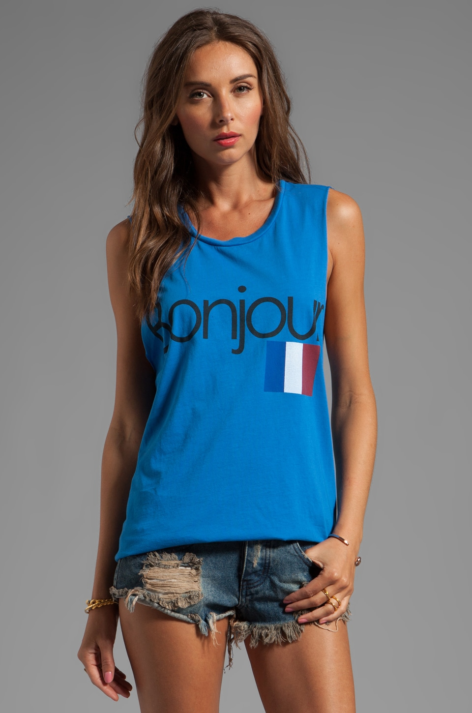 Rebel Yell Bonjour Cut-Off Tank in Vintage Royal