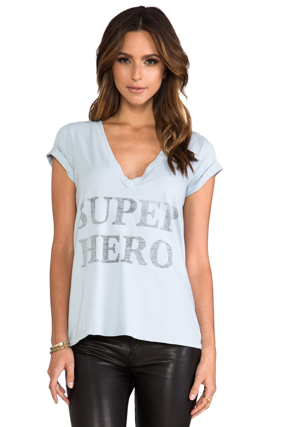 Rebel Yell Super Hero V Tee in Oxford Blue