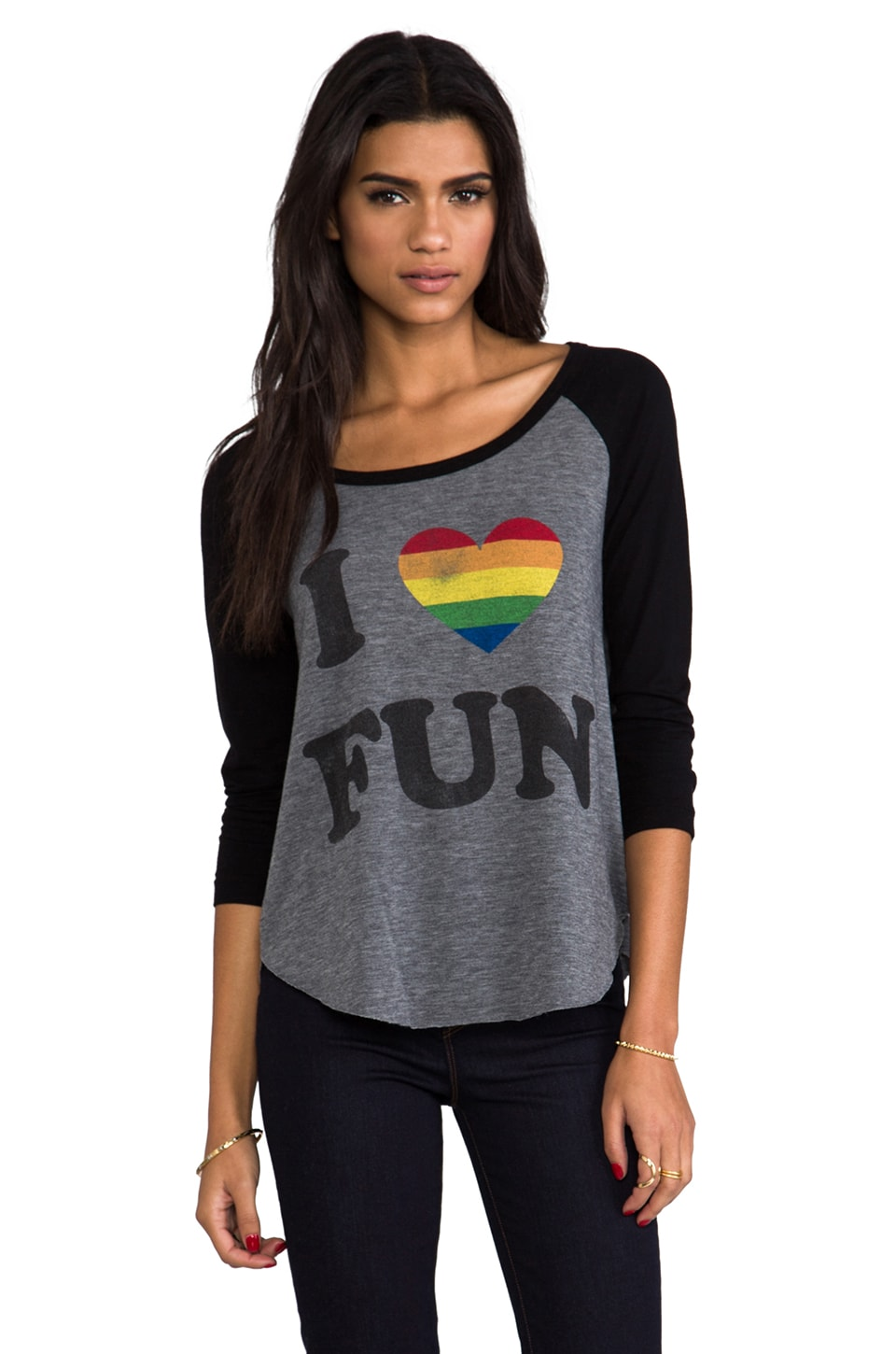 Rebel Yell I Love Fun Baseball Tee in Black