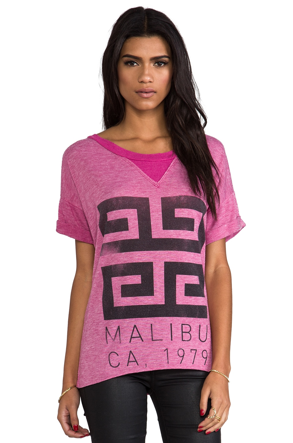 Rebel Yell Malibu X Boyfriend Tee in Bubblegum