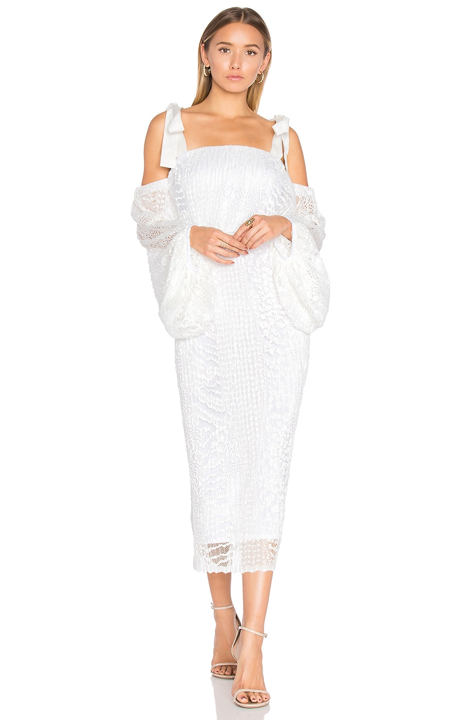 Rebecca Vallance Pulitzer Drape Sleeve Midi Dress in White