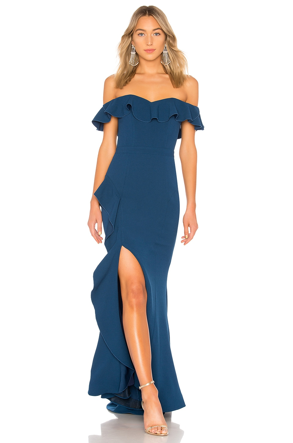 Rebecca Vallance Aegean Off Shoulder Gown in Blue