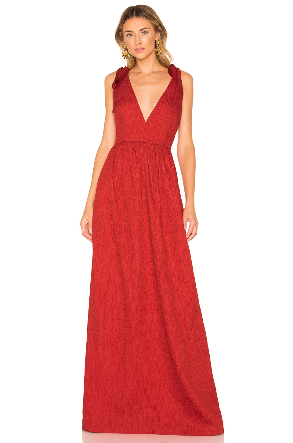 Rebecca Vallance Harlow Tie Gown in Red