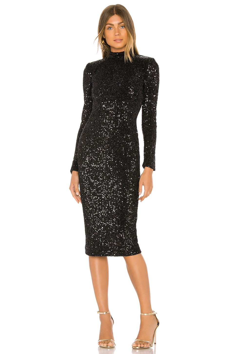 Rebecca Vallance Mica Long Sleeve Midi in Black