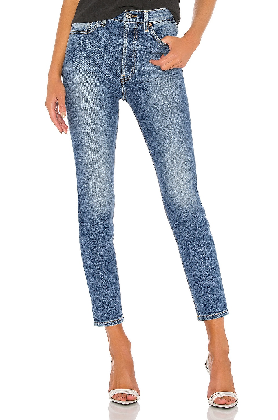 RE/DONE Ultra High Rise Ankle Crop in Dusty Blue