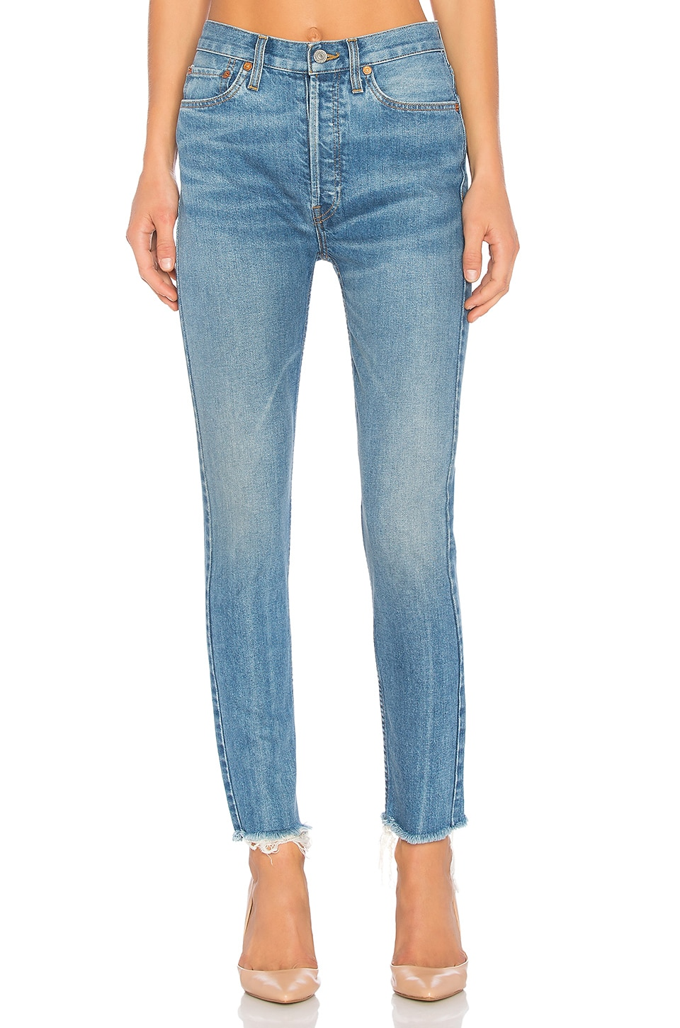 RE/DONE Originals High Rise Ankle Crop in Medium Vain