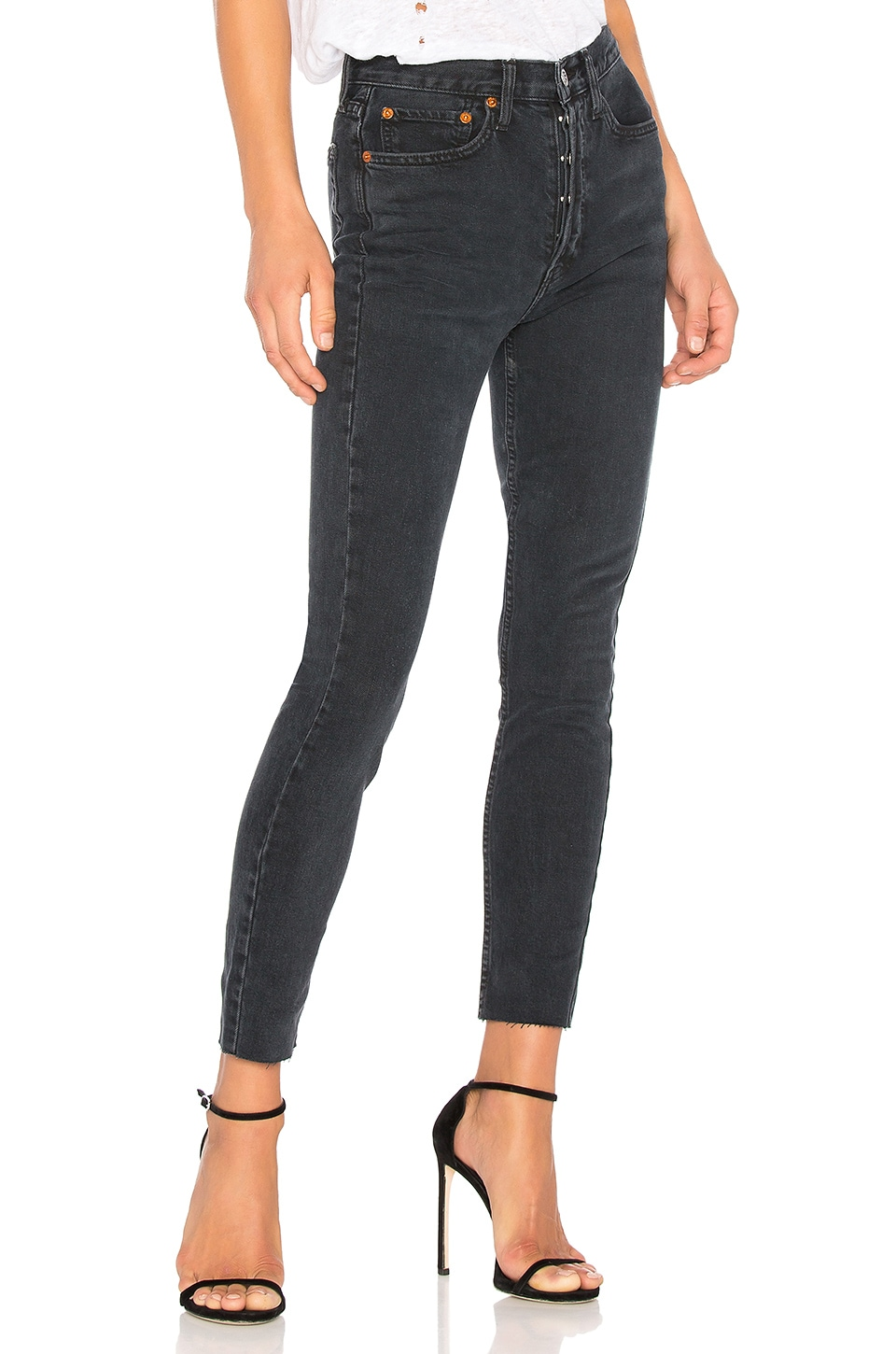 RE/DONE Originals High Rise Ankle Crop with Stretch in Worn Black