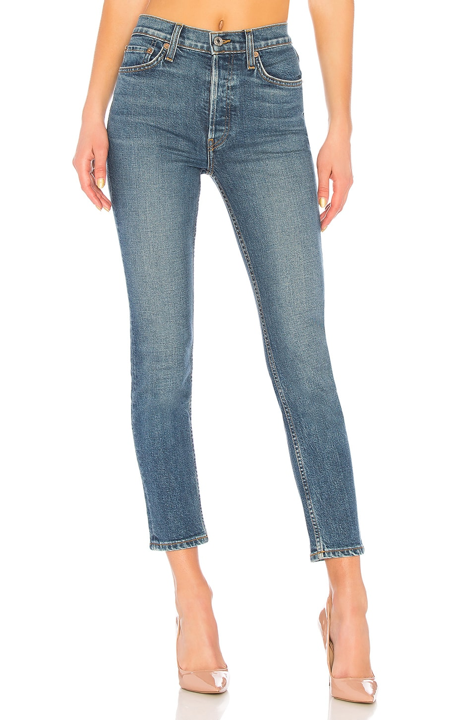 RE/DONE Originals High Rise Ankle Crop in Mid 70s