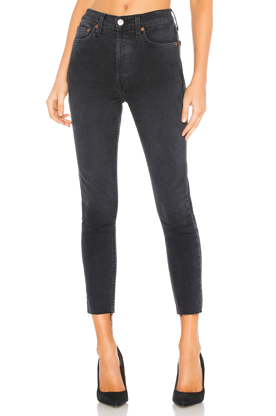 RE/DONE Originals High Rise Ankle Crop in Faded Black