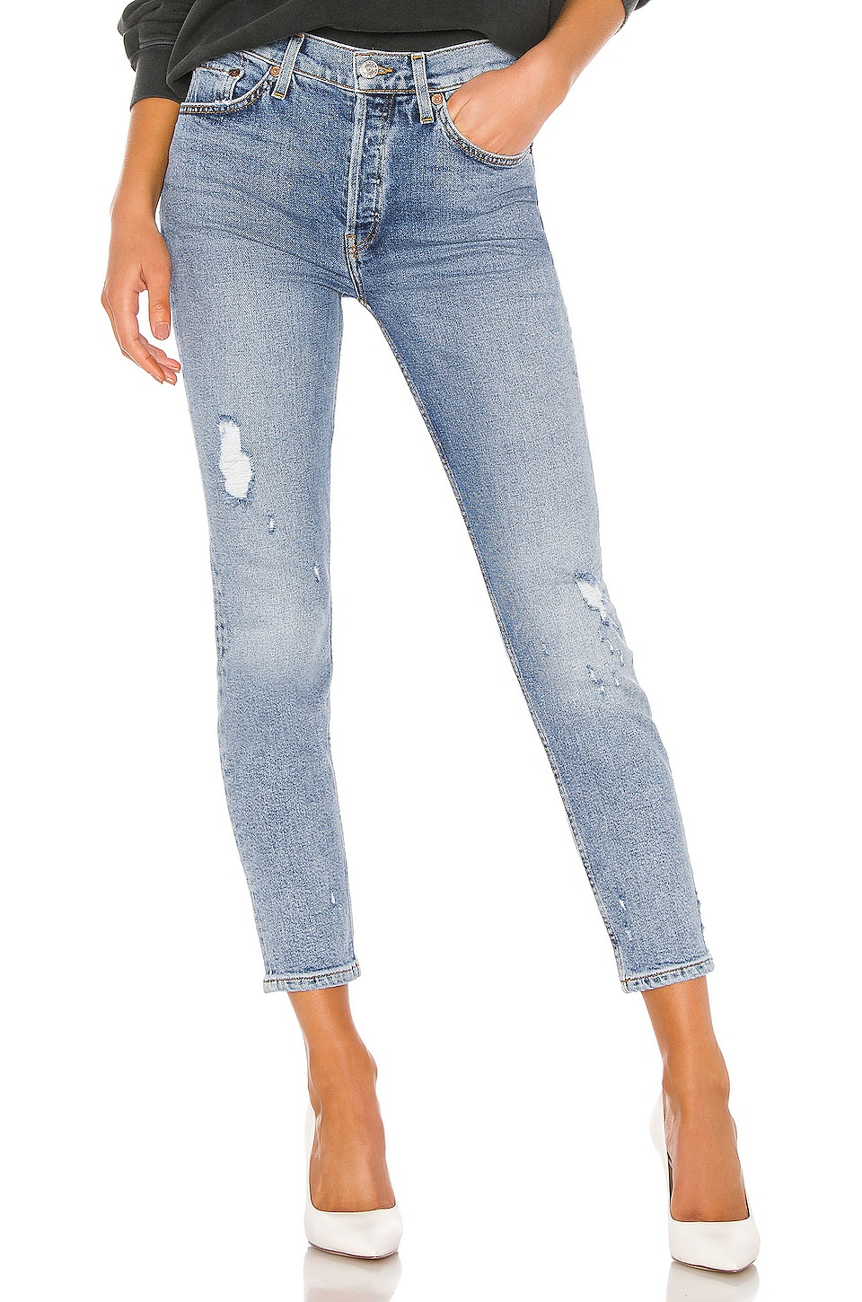 RE/DONE JEAN SKINNY HIGH RISE ANKLE CROP