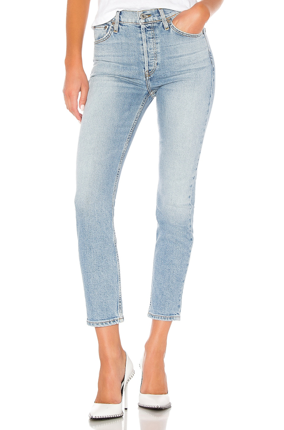 RE/DONE High Rise Ankle Crop Jean in Pale Indigo