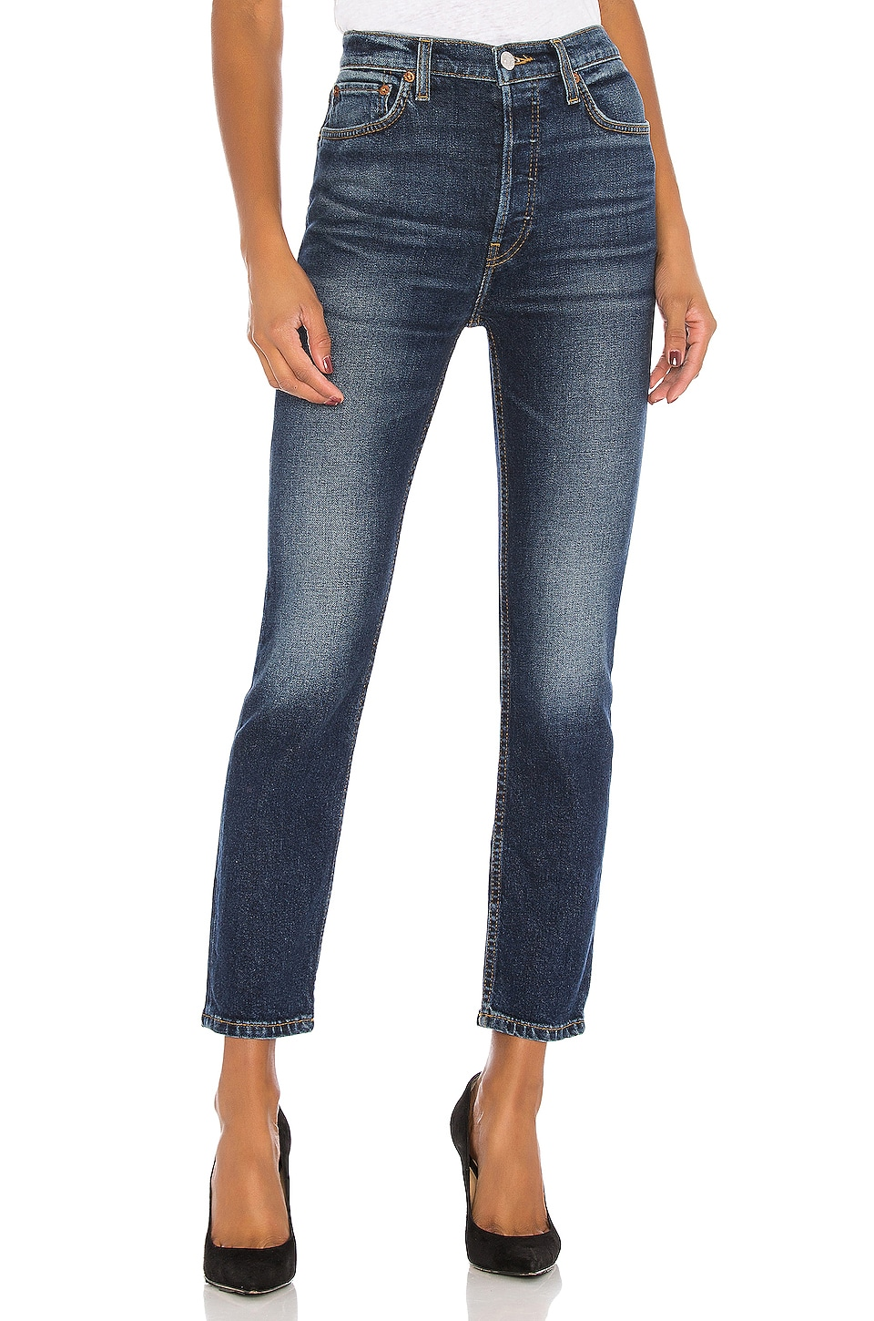 RE/DONE High Rise Ankle Crop in Midnight Blue
