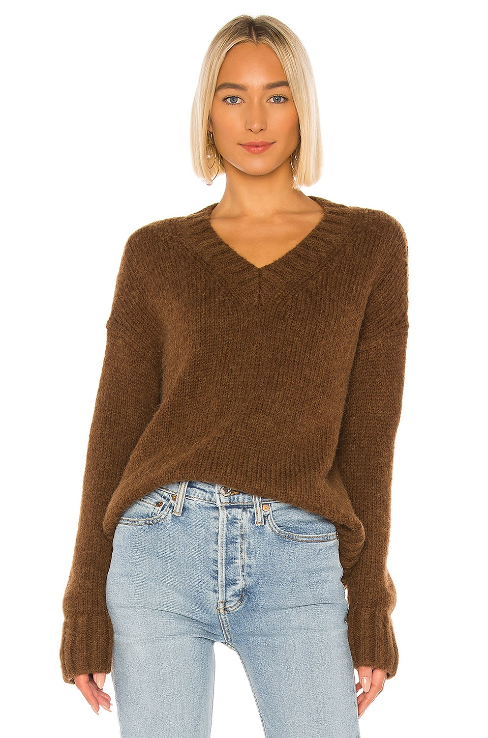 RE/DONE 90s Oversized V-Neck Sweater in Chocolate