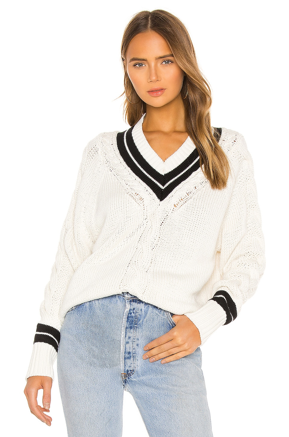 Re Done 90s Recycled Tennis Sweater In Ivory Black Revolve