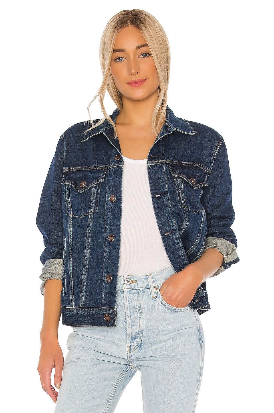 RE/DONE 90s Oversized Trucker Jacket in Dingy Indigo