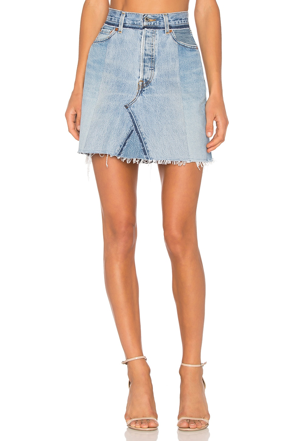 RE/DONE High Waisted Mini Skirt in Seamed Indigo Denim