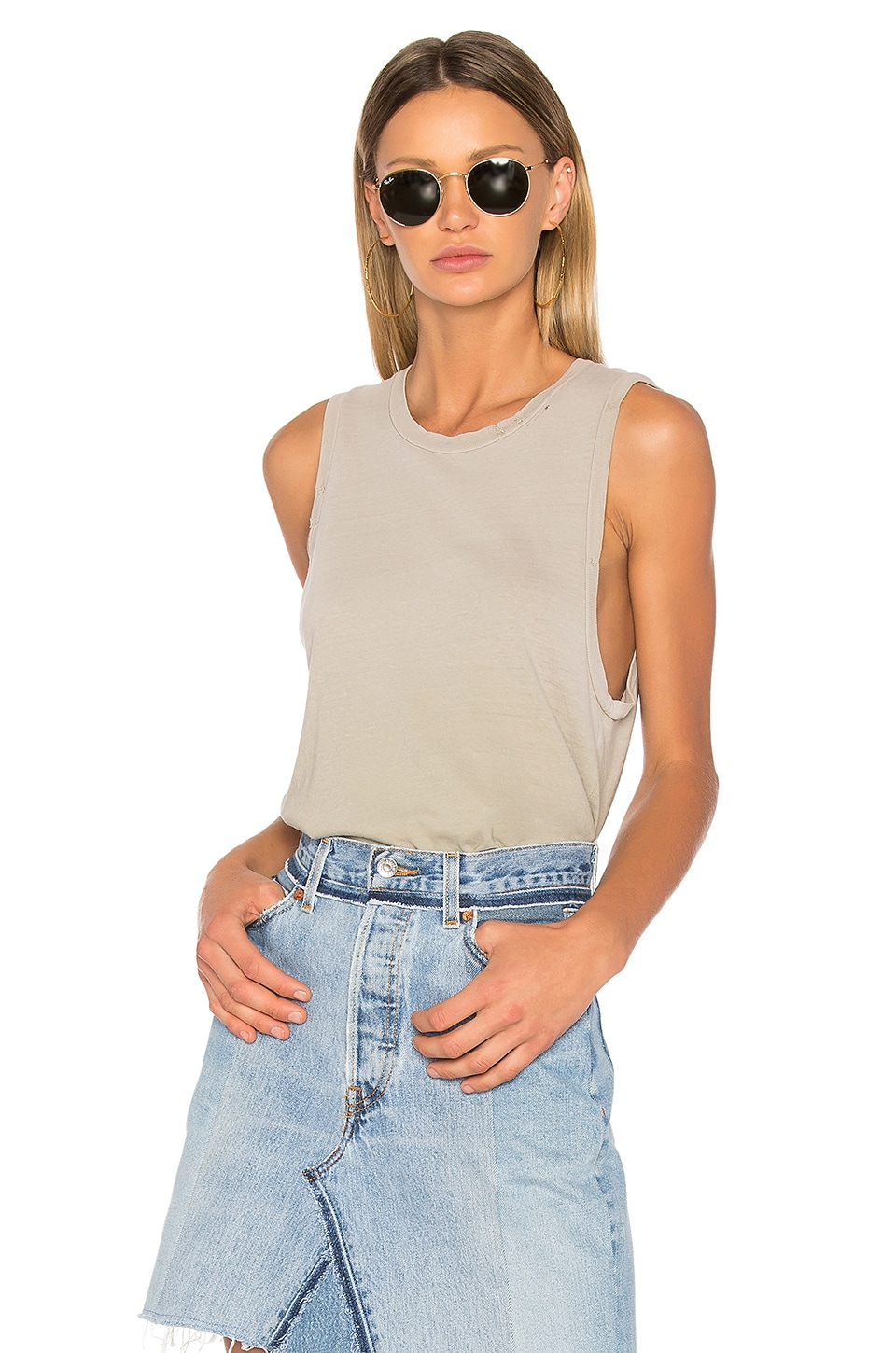 RE/DONE Muscle Tank in Faded Sand