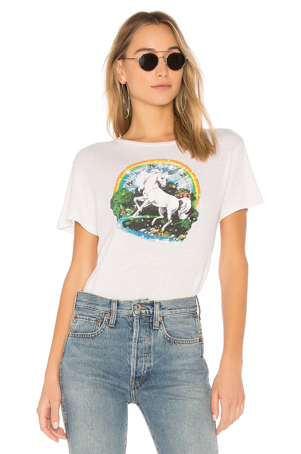 RE/DONE Originals Unicorn Dream Tee in Vintage White