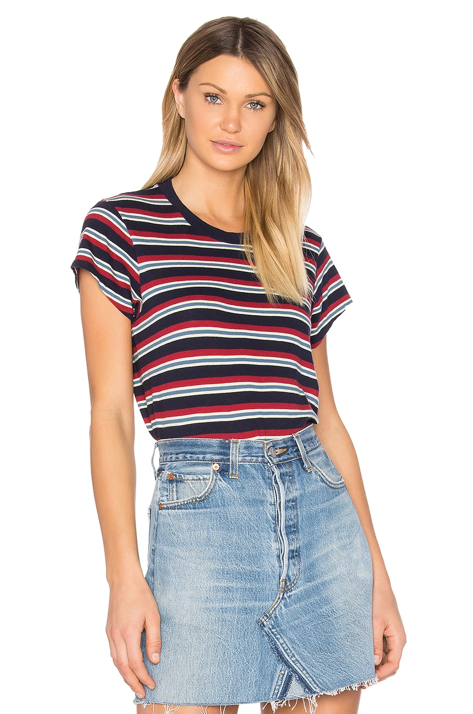 RE/DONE Boxy Striped Tee in Red & White