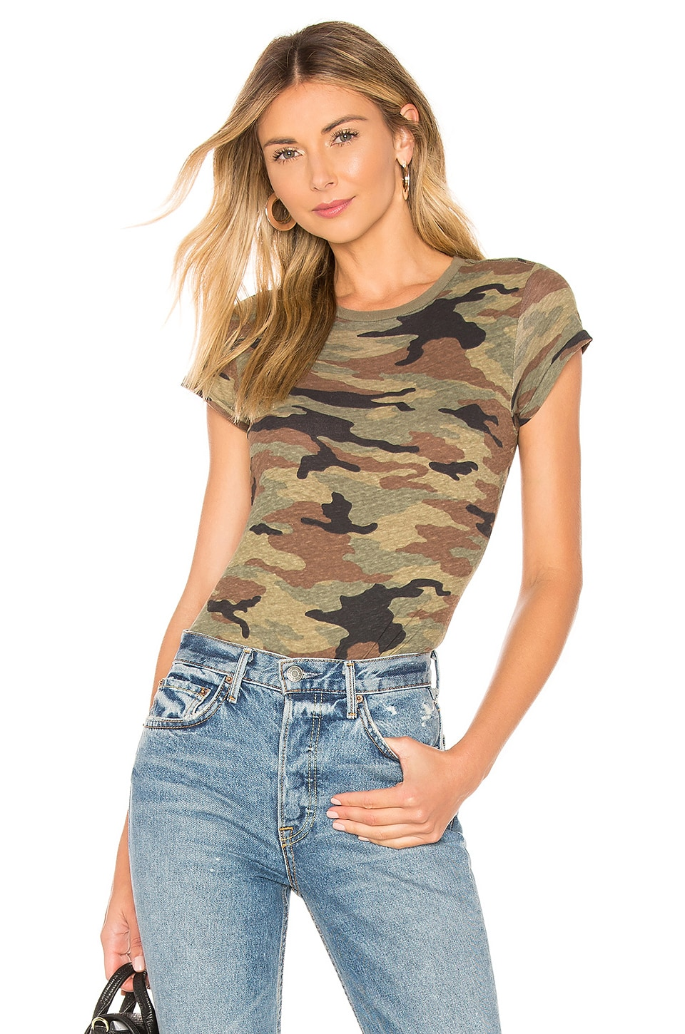 RE/DONE 1960s Slim Tee Bodysuit in Camouflage