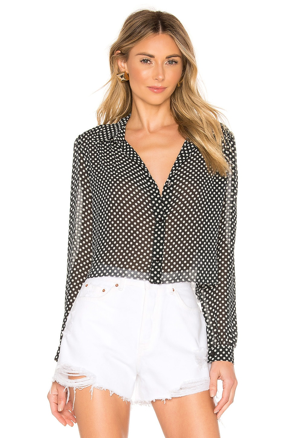 RE/DONE 60s Cropped Blouse in Black Polka Dot