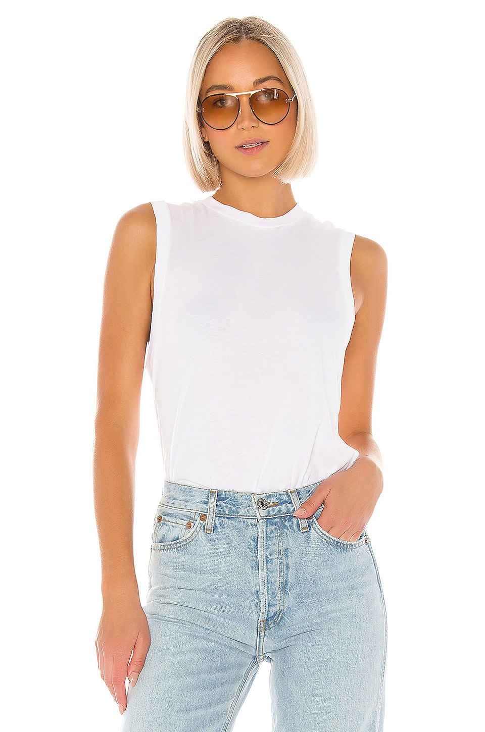 RE/DONE 70s Long Muscle Tee in White