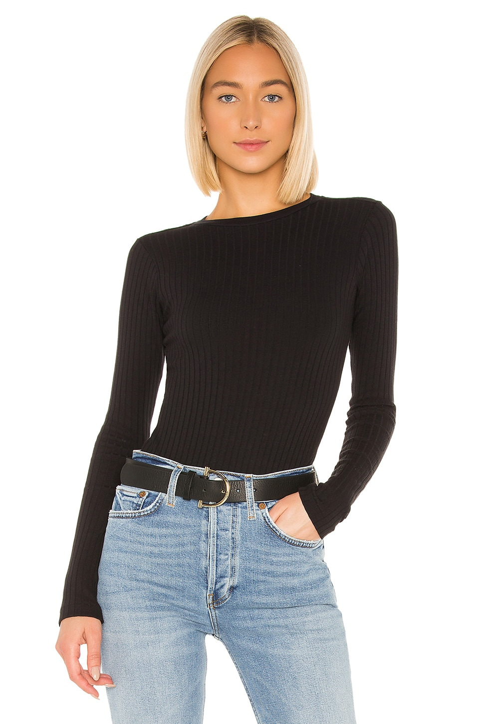 RE/DONE Ribbed Long Sleeve Bodysuit in Black