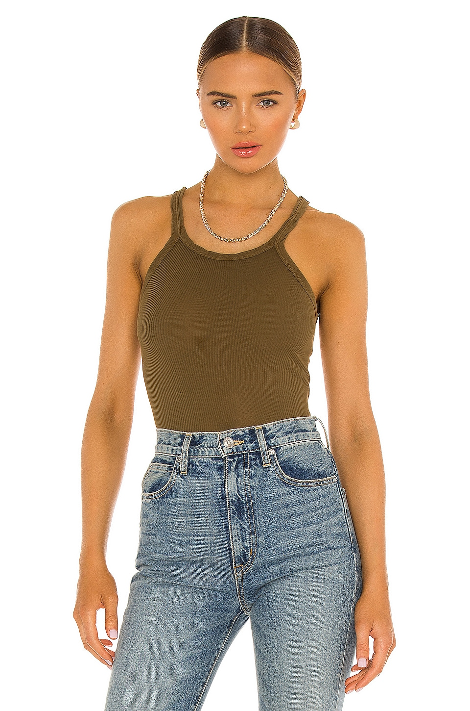 RE/DONE Ribbed Tank in Army Green