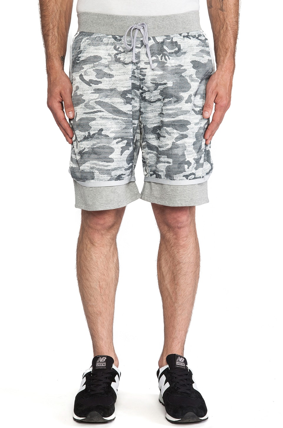 Reigning Champ Camo Print Hybrid Short in Heather Grey