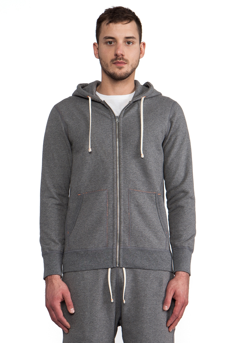 Reigning Champ x United Arrows Beauty & Youth Full-Zip Hoodie in Heather Charcoal & Orange