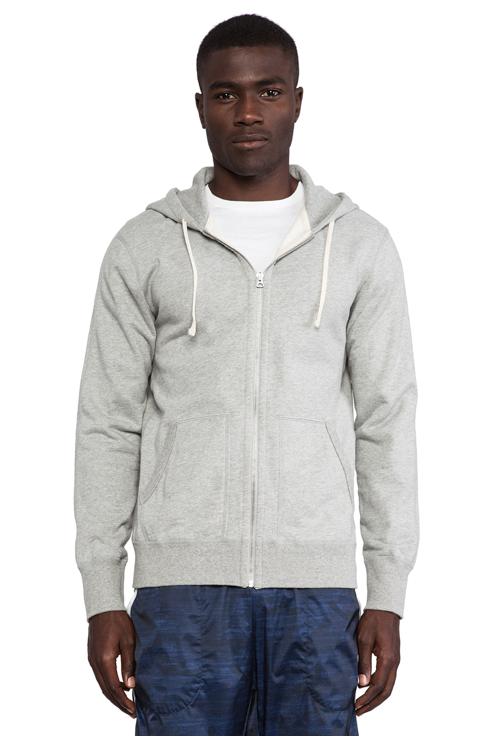 Reigning Champ Core Full-Zip Hoodie in Heather Grey