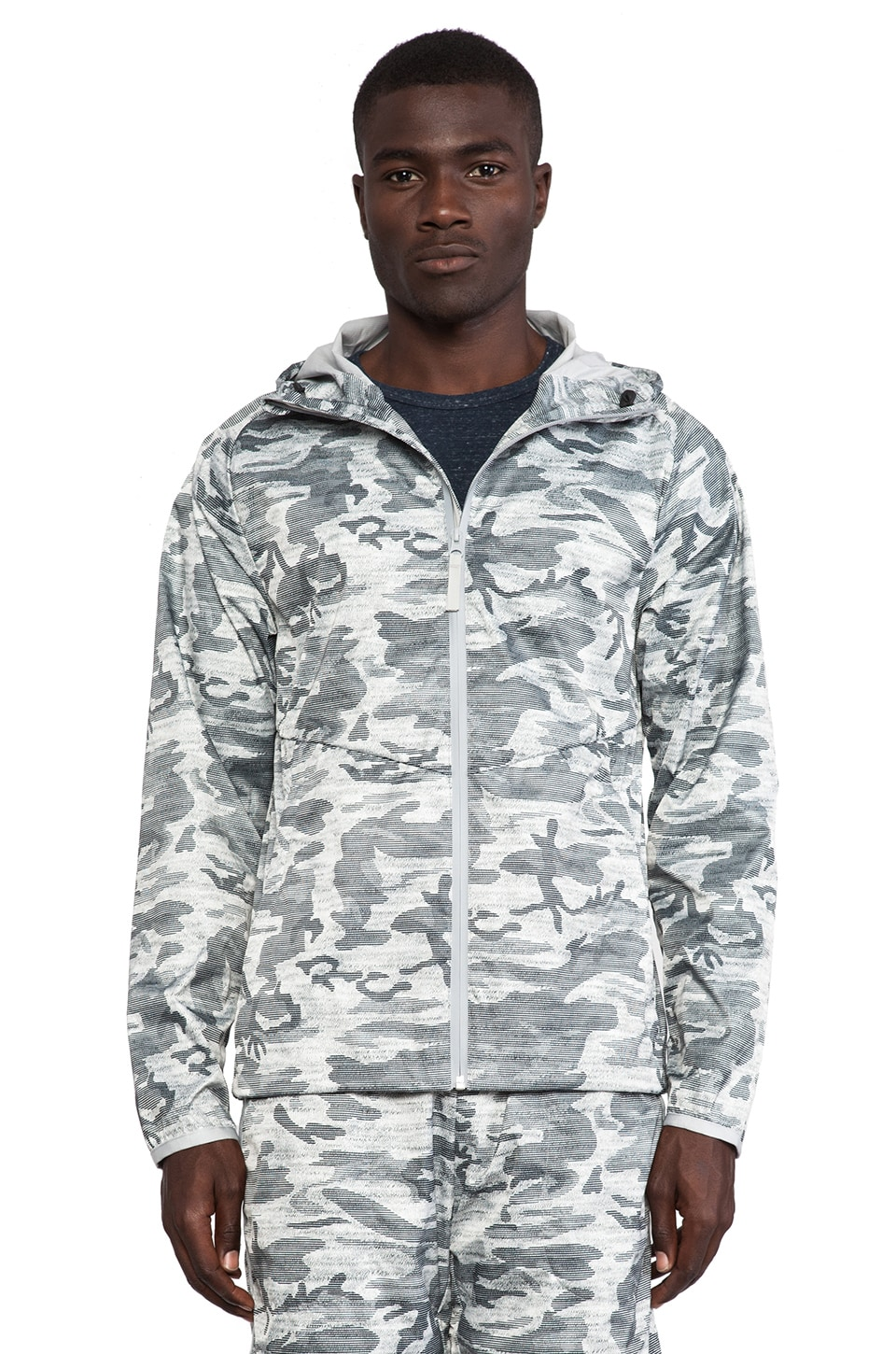 Reigning Champ Camo Print Hooded Jacket in Heather Grey