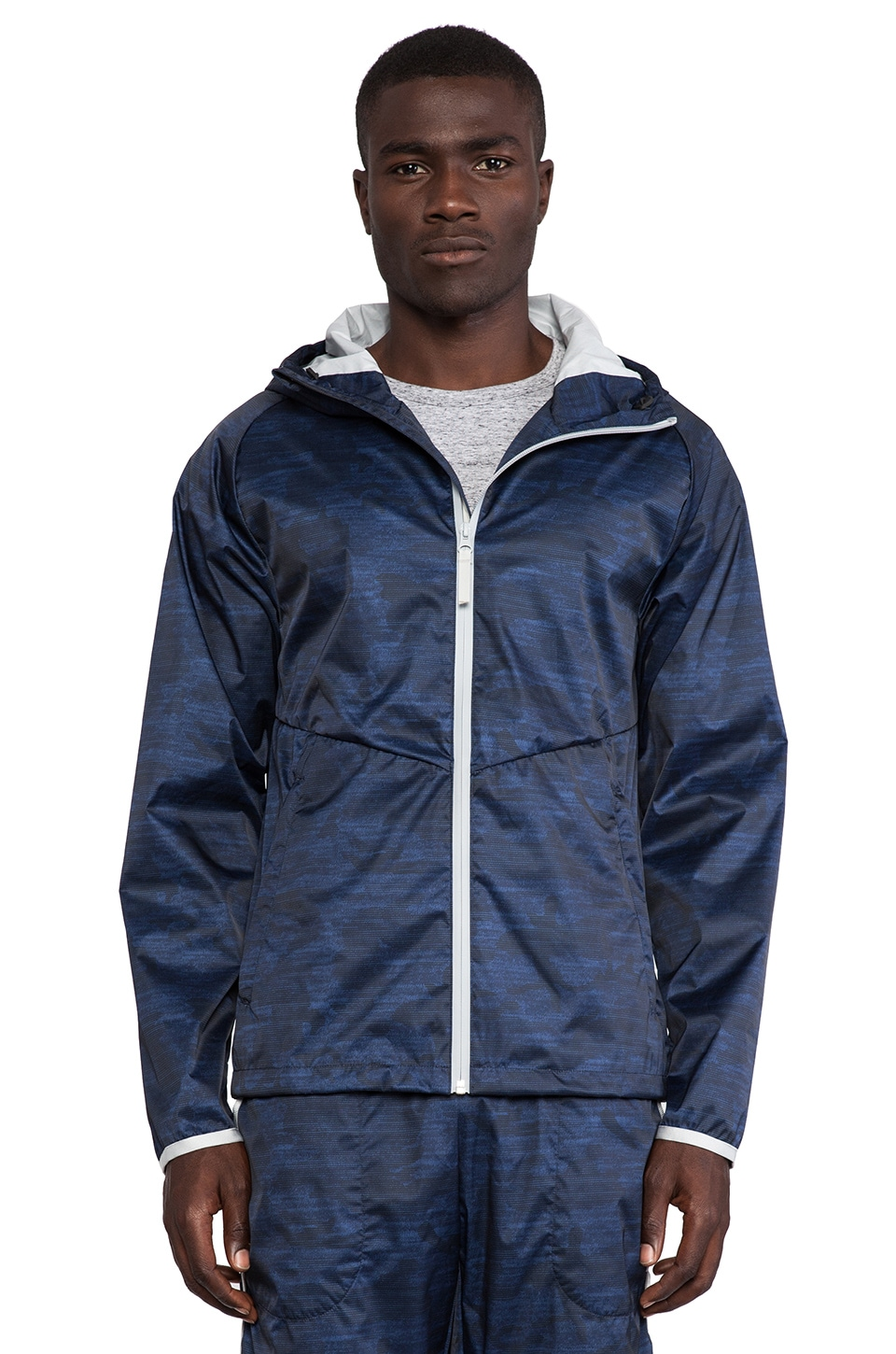 Reigning Champ Camo Print Hooded Jacket in Navy