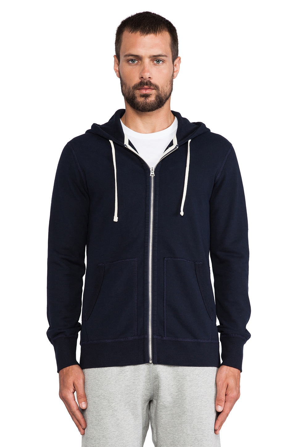 Reigning Champ Core Full Zip Hoodie in Navy