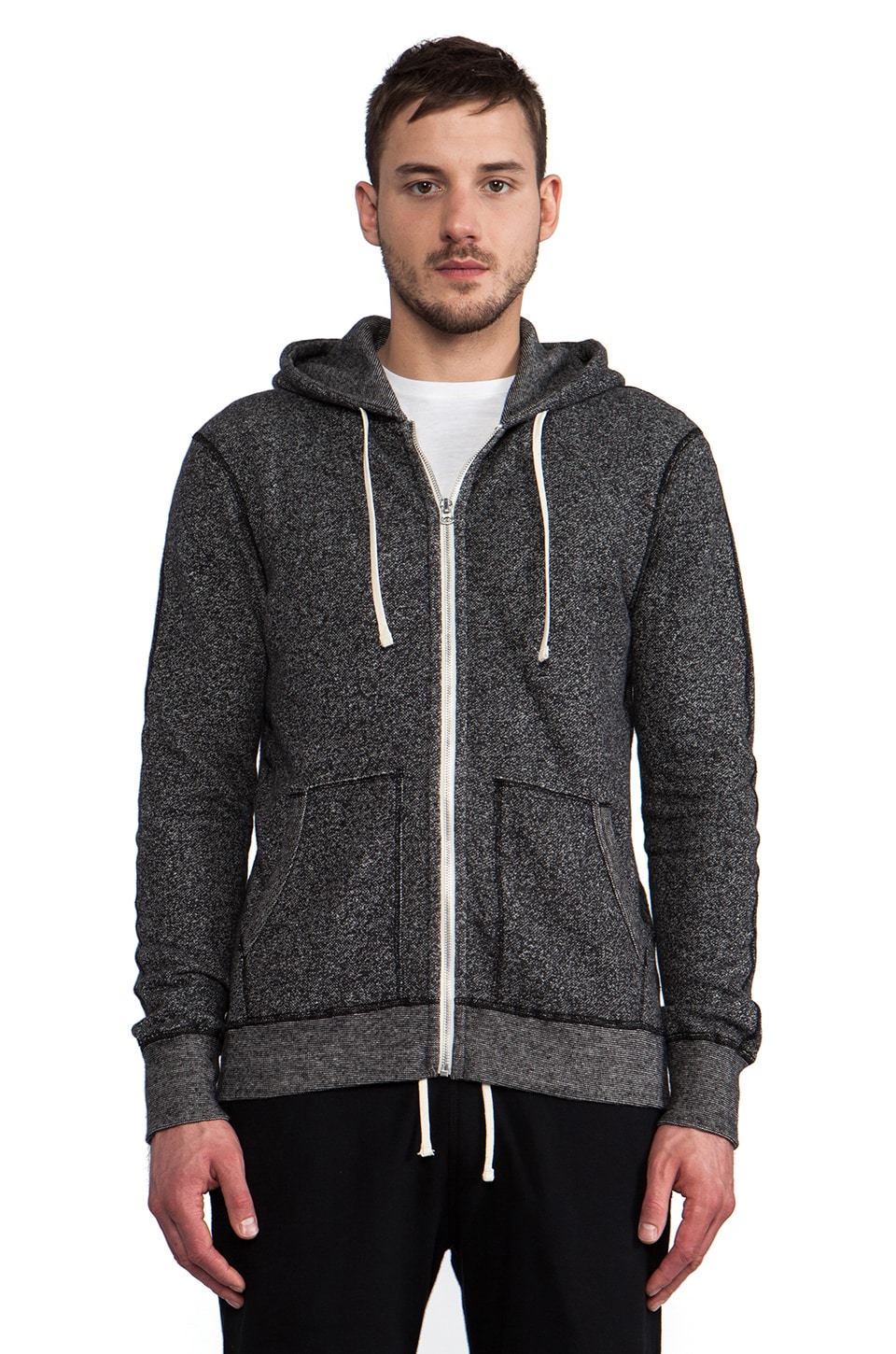 Reigning Champ Full-Zip Hoodie in Black & Natural