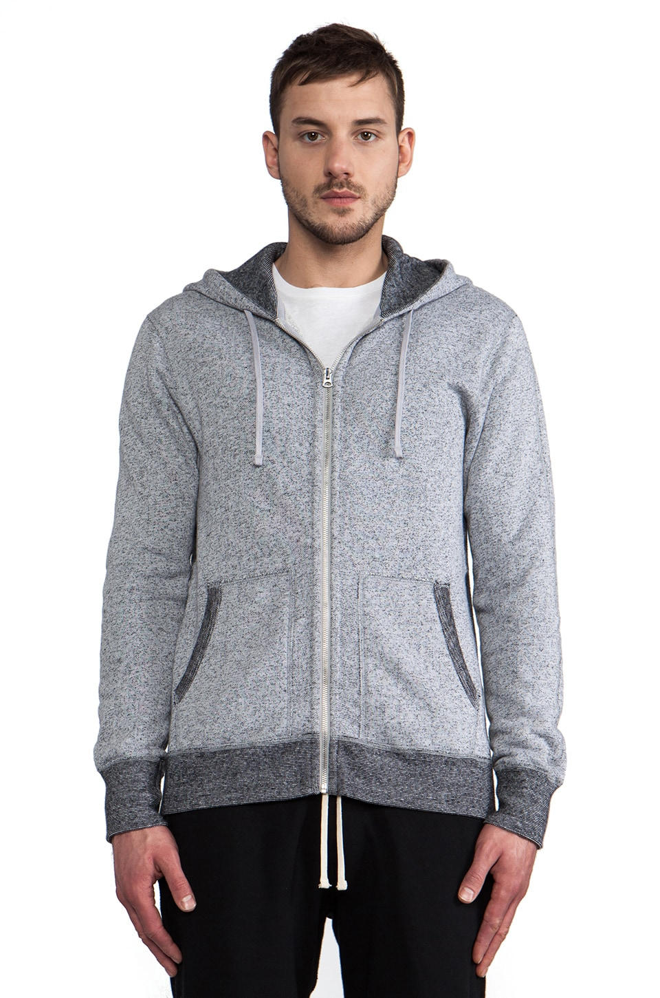 Reigning Champ Full-Zip Hoodie in Black & White
