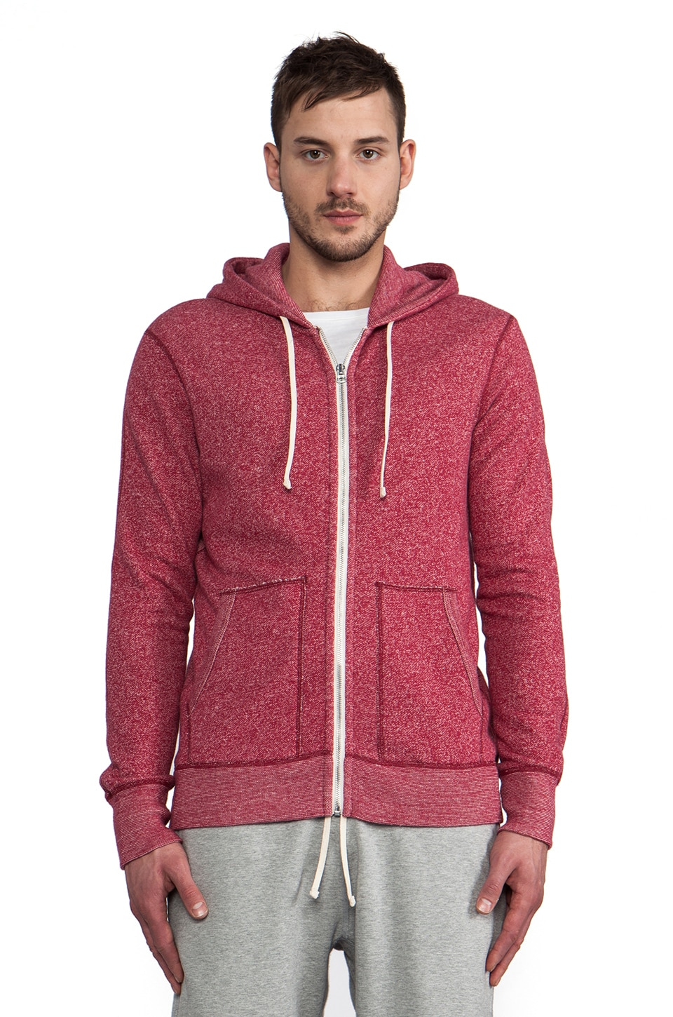 Reigning Champ Full-Zip Hoodie in Dark Cherry & Natural