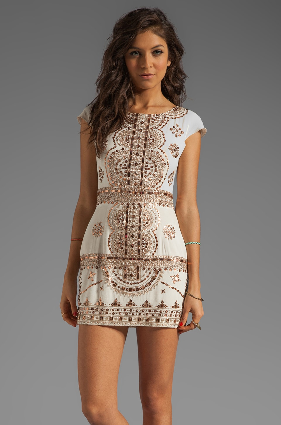 renzo + kai Lola-Lola Dress in Ivory/Rosegold
