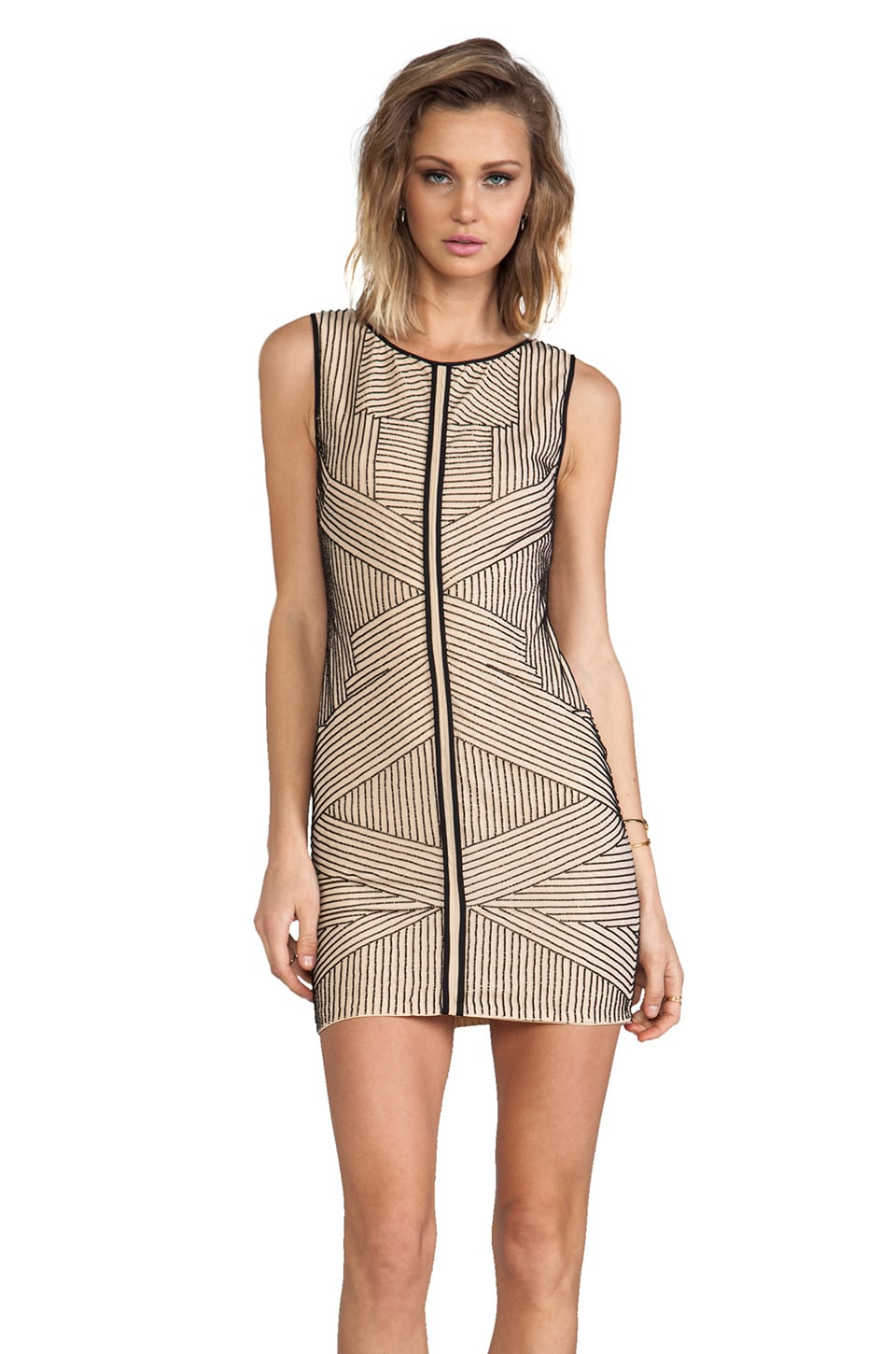 renzo + kai Stripe Beading Silk Dress in Nude/Black