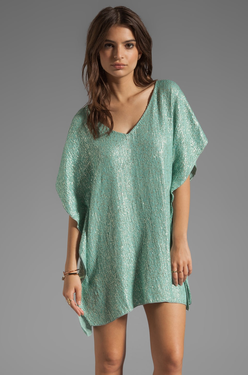 renzo + kai Sequin Kaftan in Mint